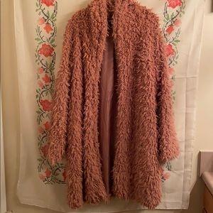 Chic Pink Fluffy Cardigan